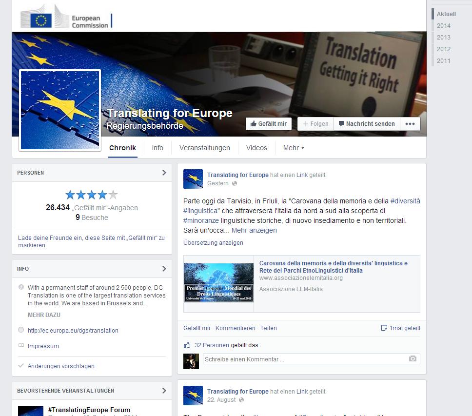 Facebook-Seite der DG Translation