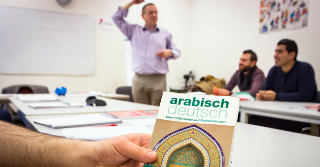 Zuwanderer lernen Deutsch für den Beruf