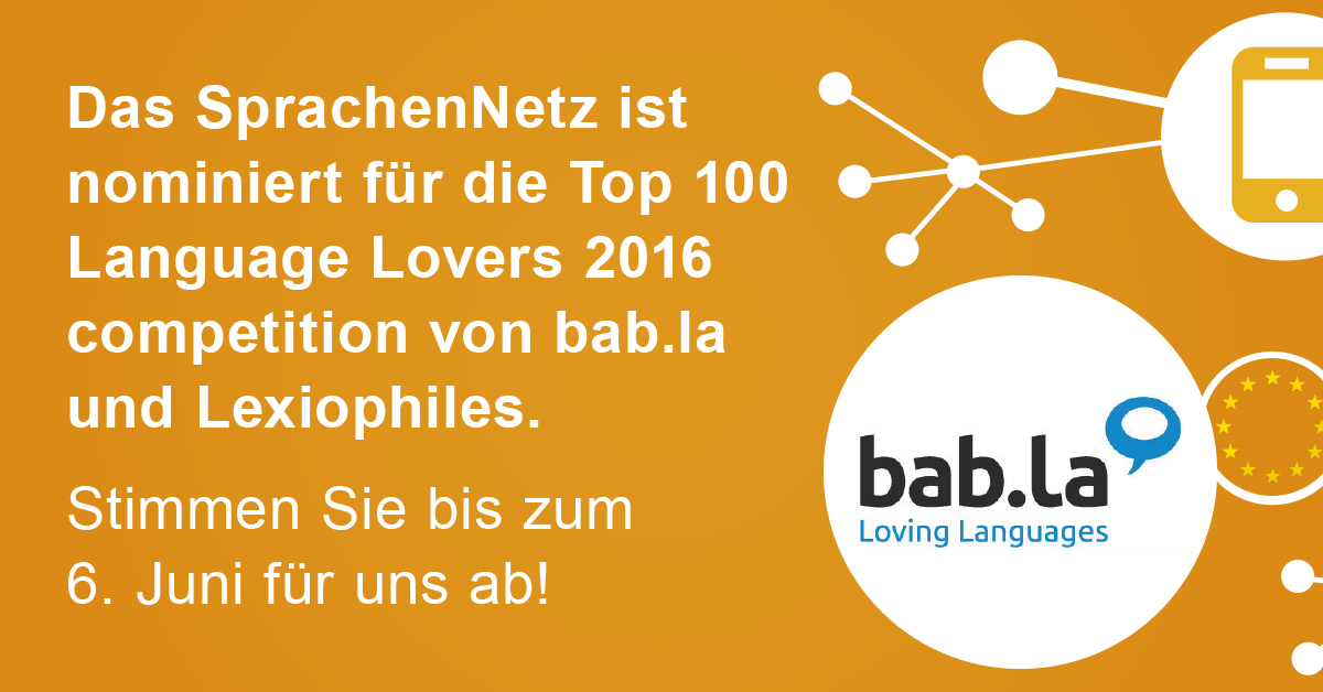 SprachenNetz für die Top 100 Language Lovers 2016 nominiert