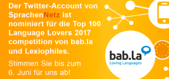SprachenNetz für die Top 100 Language Lovers 2017 nominiert