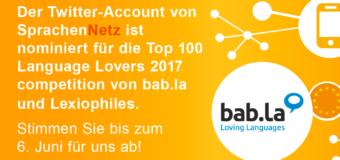 SprachenNetz für die Top 100 Language Lovers 2017 nominiert